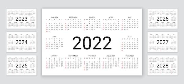 달력 2022, 2023, 2024, 2025, 2026, 2027, 2028년. 벡터 일러스트 레이 션. 간단한 캘린더 템플릿입니다.