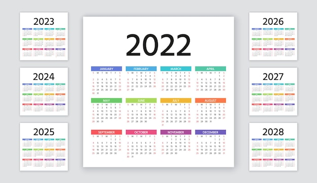 Calendar 2022, 2023, 2024, 2025, 2026, 2027, 2028 years. week starts sunday. calender layout