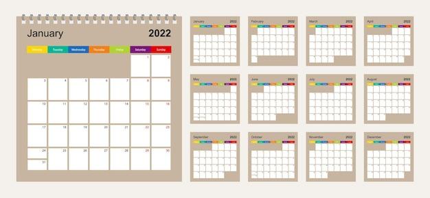 Календарь 2022 красочный дизайн, набор из 12 векторных страниц календаря планировщик стены на бежевом фоне. неделя начинается в понедельник.