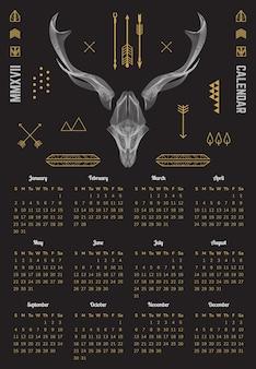 カレンダー2022かわいい動物トナカイベクトルイラスト