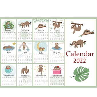Calendar for 2022 cute sloth characters, color vector illustration.