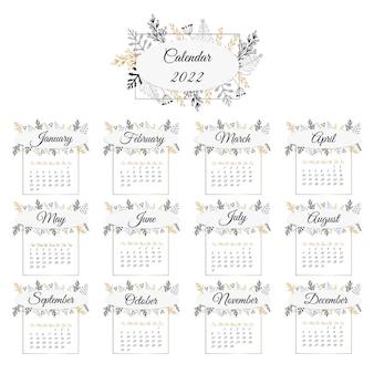 カレンダー2022。繊細な花飾り。月は枠で囲まれています。女性の日記やギフトウォールカレンダーのデザインテンプレート。ベクトルイラスト