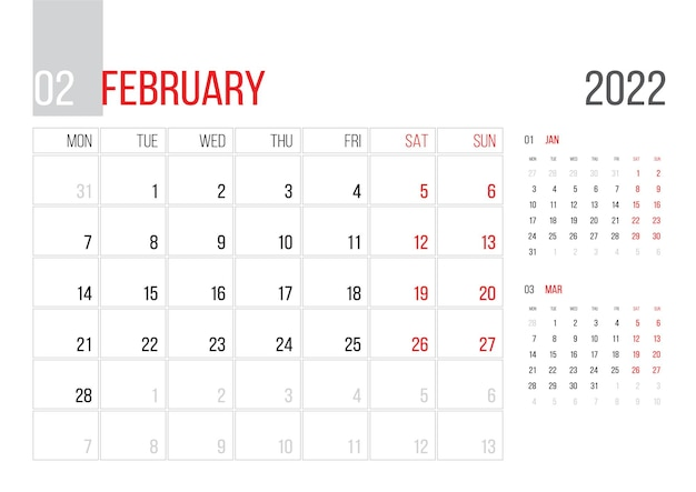 Calendar 2022 planner corporate template design february month week starts on monday basic grid