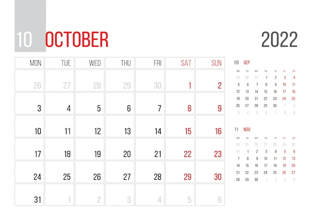 Calendar 2022 planner corporate template design march month week starts on monday basic grid