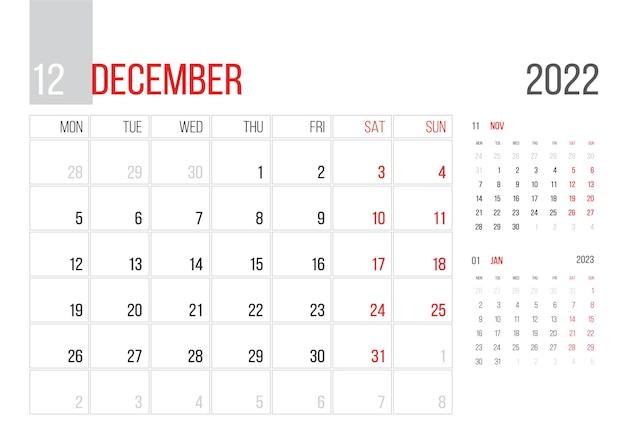 カレンダー2022プランナー企業テンプレートデザイン3月月曜日週は月曜日に始まります基本グリッド