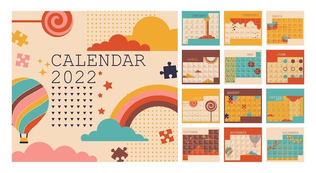 Календарь на 2022 год, планировщик, понедельник, начало недели, вертикальный макет, установленный на 12 месяцев