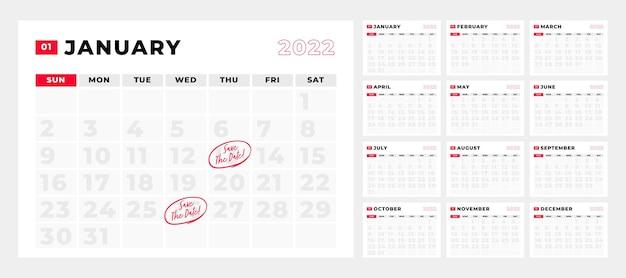 Шаблон календаря 2022 планирования недели
