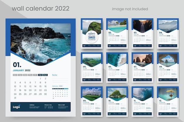 Календарь на 2022 год с синими векторными премиальными акцентами