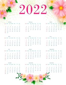 明るい花柄のカレンダー2022。レンプレート。ベクター