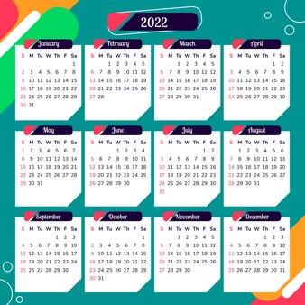 Календарь 2022 с красочным абстрактным фоном