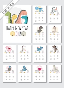 Calendar 2022  with flat cartoon animals illustration illustration cute animal with 12month cal