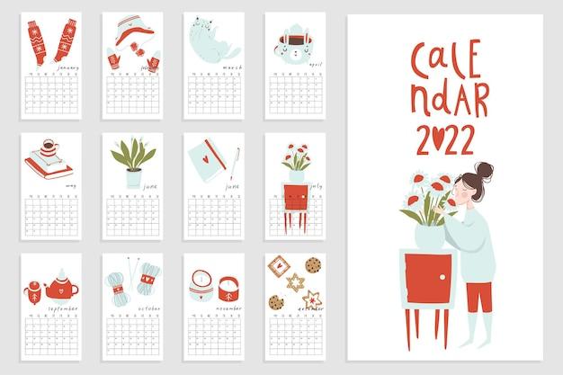 手描きのヒュッゲ要素を持つカレンダー2022