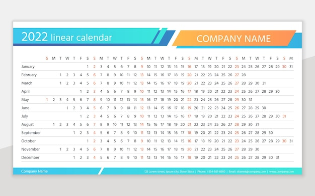 Calendar 2022 year. linear horizontal planner. yearly calender template. annual schedule grid