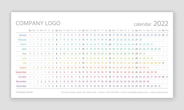 Calendar for 2022 year. linear planner template. vector illustration.