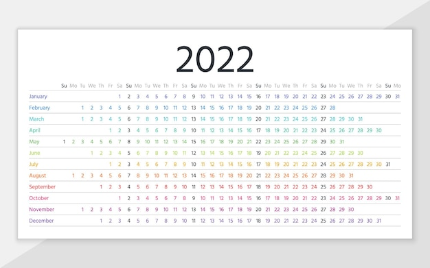 Calendar 2022 year. linear planner template. yearly horizontal calender. week starts sunday. illustration.