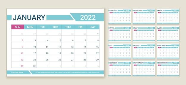 Календарь 2022 года. шаблон планировщика. неделя начинается в воскресенье. вектор. макет календаря. таблица расписания сетки. ежегодный органайзер канцелярских товаров. горизонтальный ежемесячный дневник с 12 мес. простая цветная иллюстрация.