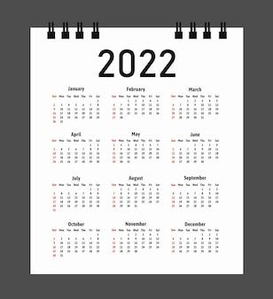 Календарь 2022 года, неделя начинается в воскресенье