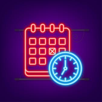 カレンダーと時計のラインアイコンスケジュールの概念ネオンアイコンモダンなフラットデザインのグラフィック要素