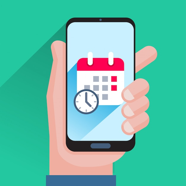 Календарь и часы на экране смартфона