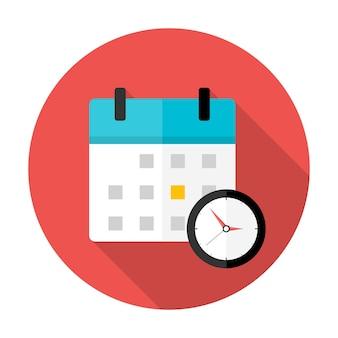 カレンダーと時計のタイムサークルアイコン。長い影とフラットな様式化された円のアイコン