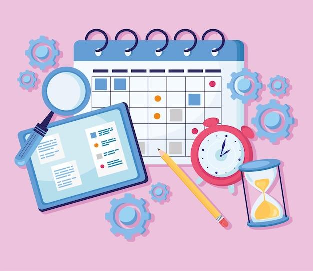 Календарь и запланированный набор иконок