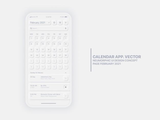 캘린더 앱 페이지 2021 년 2 월 할 일 목록 및 작업 개념 Ui Ux 프리미엄 벡터