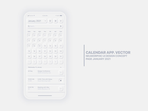 Calendar app page january 2021 with to do list and tasks conceptual ui ux neumorphic design mockup isolated.