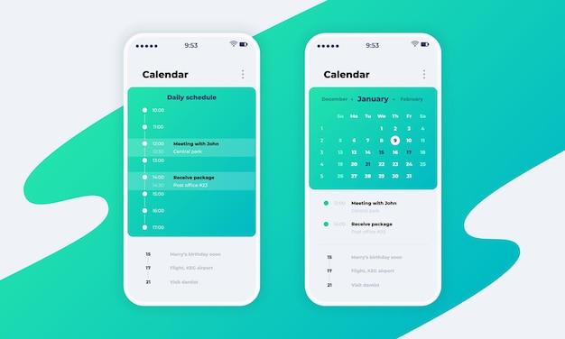 캘린더 앱. 달력 개념, 일정 및 미리 알림 디자인이 포함된 전화 응용 프로그램 ui