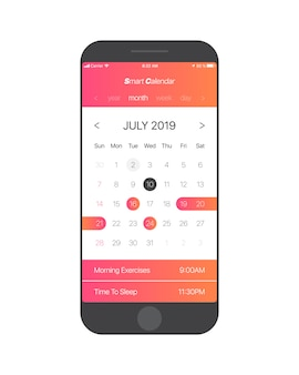 Calendar app ui concept july 2019 page vector template