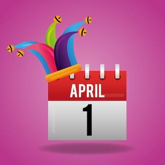 4 월 1 일 달력 및 광대 모자 축하