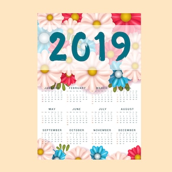 Calendar background 2019 template with flower