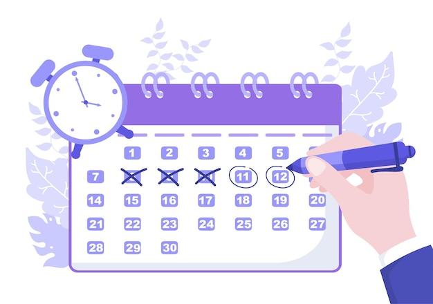 重要事項、時間管理、作業組織、ライフイベントの通知または休日を計画するための円記号付きカレンダー背景ベクトル図