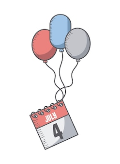 Calendar and balloons