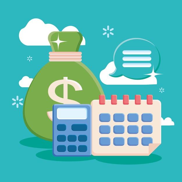 달력 계산기와 돈 가방