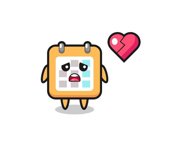 Календарь мультфильм иллюстрация разбитое сердце, милый стиль дизайн для футболки, стикер, элемент логотипа