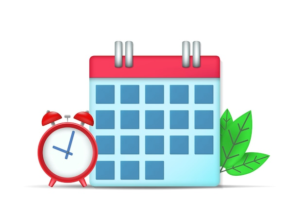 Calendar and clock icon with leaves. isolated on white background