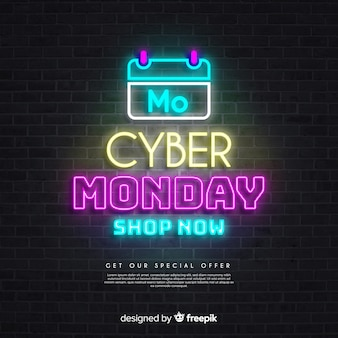 Calendar of cyber monday sales in neon lights