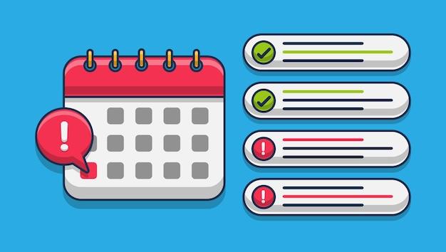 Календарный срок со списком завершенных и невыполненных дел