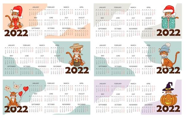 Шаблон оформления календаря на 2022 год, год тигра по китайскому или восточному календарю, с изображением тигра. горизонтальная таблица с календарем на 2022 год. вектор