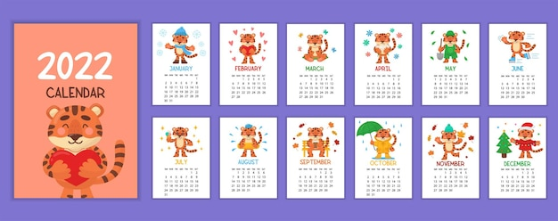 호랑이의 해인 2022년 달력 디자인 템플릿입니다. 한 주가 일요일에 시작됩니다. 12페이지 세트와 귀엽고 재미있는 캐릭터 작은 호랑이 새끼의 삽화가 있는 표지.