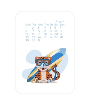 Calendar design template for  year of blue tiger chinese new year augustvector stock flat illustrati...