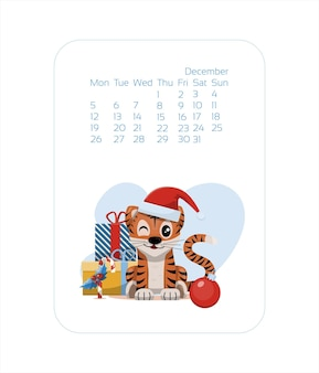 Calendar design template for  year of blue tiger chinese new year december vector stock flat illustr...