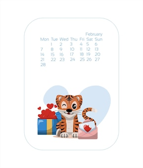 Calendar design template for  year of blue tiger chinese new year february vector stock flat illustr...