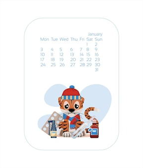 Calendar design template for  year of blue tiger chinese new year january vector stock flat illustra...