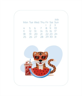 Calendar design template for  year of blue tiger chinese new year july vector stock flat illustratio...