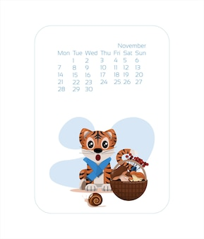 Calendar design template for  year of blue tiger chinese new year november vector stock flat illustr...