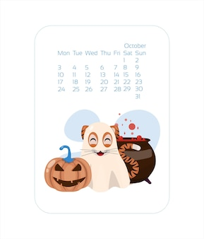 Calendar design template for  year of blue tiger chinese new year october vector stock flat illustra...