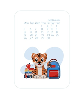 Calendar design template for  year of blue tiger chinese new year september vector stock flat illust...