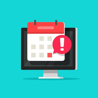 Calendar event date alarm as deadline notification on computer screen symbol flat cartoon