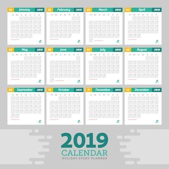 Calendar event planner 2019 template
